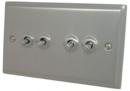 G&H DSN284 Deco Plate Satin Nickel 4 Gang 1 or 2 Way Toggle Light Switch